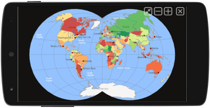 Van der Grinten map projection world map
