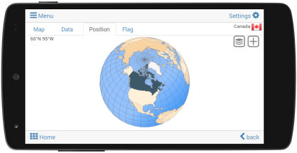 View the position of each country on the digital globe